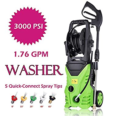 Oanon 3000 PSI Electric High Pressure Washer 1.76 GPM 1800W Electric Power Washer with 5 Quick-Connect Spray Tips (Green)