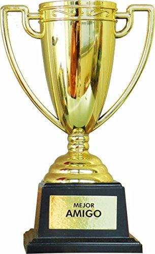 Framan Copa Trofeo con Mensajes para Ocasiones Especiales, Ideal como Regalo Original Y ECONÓMICO. Mensaje Mejor Amigo