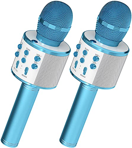 OVELLIC 2 Pack Karaoke Microphone for Kids, Wireless Bluetooth Karaoke Microphone for Singing, Portable Handheld Mic Speaker Machine, Great Gifts Toys for Girls Boys All Age (Blue)