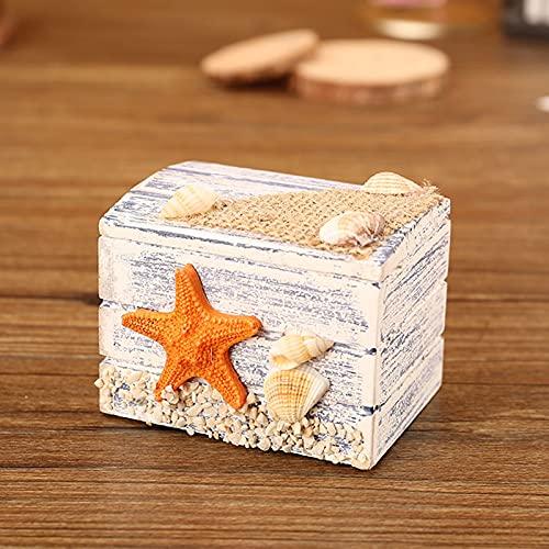 ABCSS Mini joyero,pequeña Caja de Madera de Estilo mediterráneo,Anillo,Caja de Almacenamiento de Dulces,pequeña Caja del Tesoro,Caja pequeña portátil,4 Estilos,7 * 5 * 5 cm