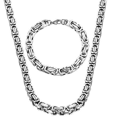 PROJEWE 2 Piezas 8mm Collar Pulsera Set Collar de Hombres Acero Inoxidable Unisexo Cadena Cubana Figaro Collar de Geometría Collar Cubana Largo de Hip Hop para Hombres Mujeres