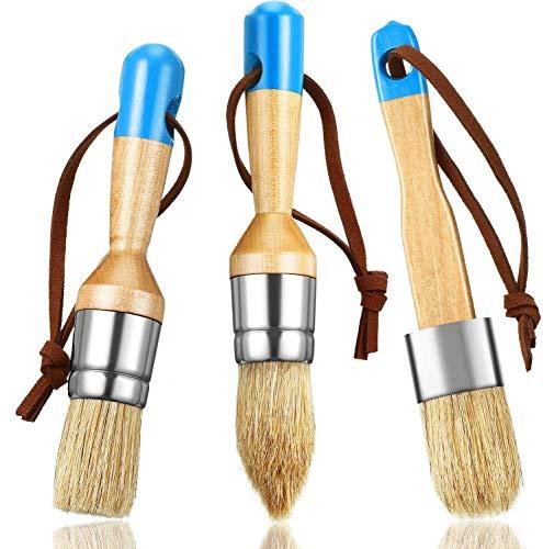 Yeelua 3-teiliges Kreide- und Wachspinsel-Pinsel-Set, Borsten-Schablonenbürsten für Holzmöbel, Wohnkultur, DIY-Mal- und Wachswerkzeug, Milchfarbe, Schablonen