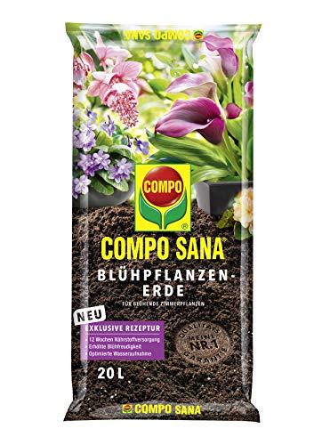 Compo SANA Blühpflanzenerde mit 12 Wochen Dünger für alle blühenden Zimmerpflanzen, Kultursubstrat, 20 Liter, braun