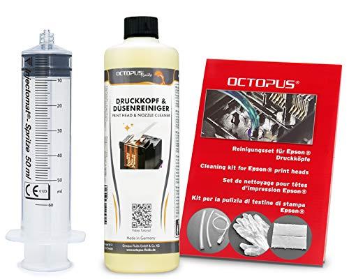 Octopus Düsenreiniger, Druckkopfreiniger kompatibel für Epson Druckköpfe mit Schlauchadaptern (250 ml)