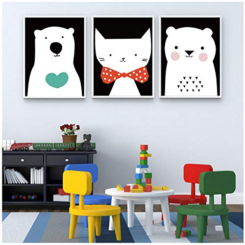 xwwnzdq Raum Wandkunst CKunstoon Tier Bier Katze Schön für Wohnzimmer Nordisch Minimalistisch Style Wohnkultur Malerei Poster Leinwand 40x60cmx3 Ungerahmt