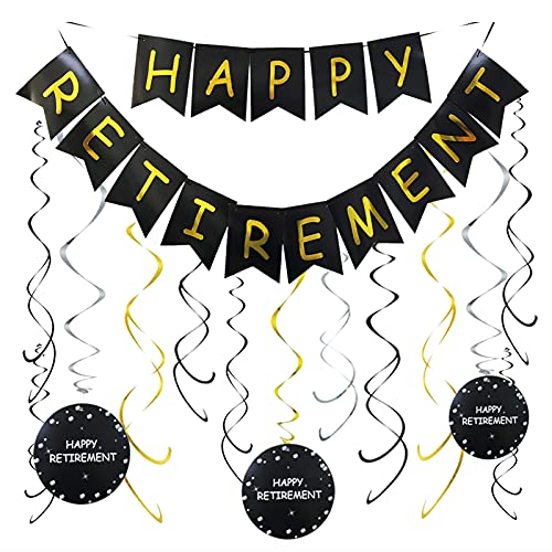 Happy Retirement Banner and Happy Retirement Hanging Swirls for Retirement Party Decorations Kit Men and Women Black Gold Retirement Party Supplies