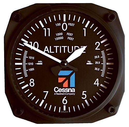 "Trintec Cessna Altimeter Clock 6.5"" Square with Logo"