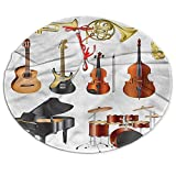 3D Printed Music Christmas Tree Skirt, Musical Instruments Xmas Holiday Party Supplies Large Tree Mat Decoration Ornament 48 Inch