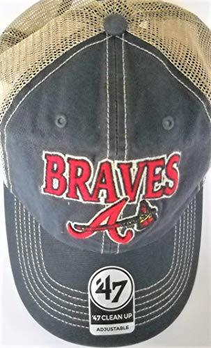 Atlanta Braves Adult Adjustable Snapback Cap Hat with Tan Trucker Meshback and Team Nickname and Embroidered A/Tomahawk Logo on Vintage Navy Front