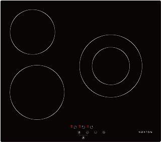 NOXTON Table de Cuisson 3 Zones en Céramique Built-in Cuisson électrique Plaque de Cuisson en Verre Noir Avec le Contrôle ...