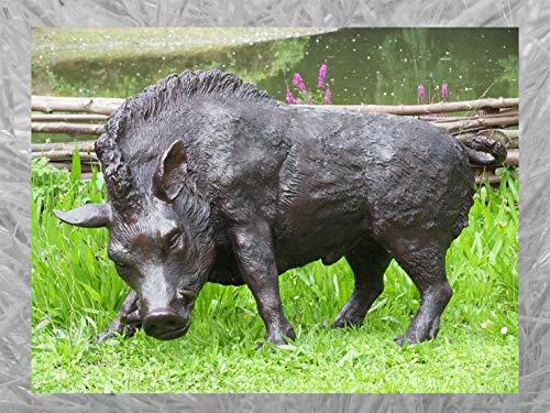 IDYL Escultura de bronce de jabalí   51 x 41 x 94 cm   Figura de animal de bronce hecha a mano   Escultura de jardín o decoración   Artesanía de alta calidad   Resistente a la intemperie