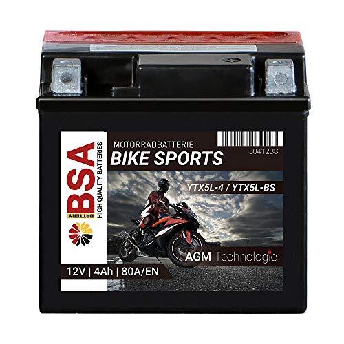 BSA BIKE SPORTS AGM Motorrad Batterie 4Ah 12V YTX4L-BS 80A Erstausrüsterqualität trocken vorgeladen inkl. Säurepack total wartungsfreie Starterbatterie