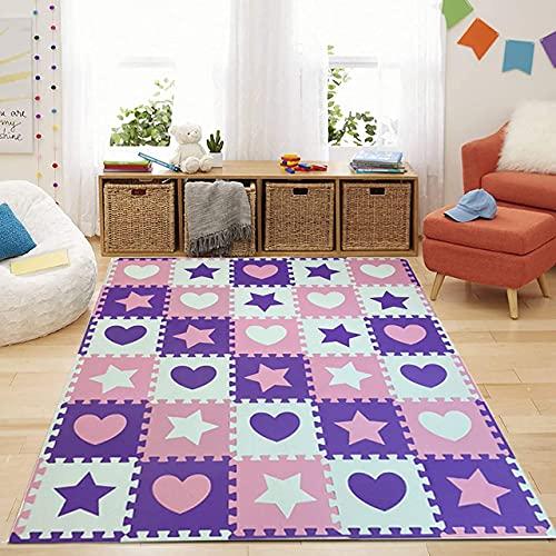 Heart & Star Shapes - Alfombrilla de espuma EVA para niños (16 piezas, diseño de corazón y estrella)
