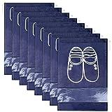 Lot de 12 Travel Sacs à Chaussures de Voyage, Sacs de Voyage Respirants Sacs Organisateurs, Portable Anti-poussière avec Fenêtre Transparente (Bleu Foncé)