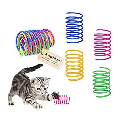 Andiker Cat Spiral Spring, 12 Pc Cat Creative Toy to Kill Time and Keep Fit Interactive cat Toy Durable Heavy Plastic Spring Colorful Springs Cat Toy for Swatting, Biting, Hunting Kitten Toys by Andiker