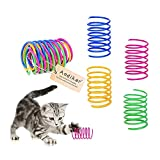 Andiker Cat Spiral Spring, 12 Pc Cat Creative Toy to Kill Time and Keep Fit Interactive cat Toy Durable Heavy Plastic Spring Colorful Springs Cat Toy for Swatting, Biting, Hunting Kitten Toys