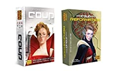 The bundle includes Coup (The Dystopian Universe) and Coup Reformation expansion (2 items) Ages 10 and up For 2 to 6 players and playable in 15 minutes Includes an expansion for the best-selling Coup card game Adds a new role - The Inquisitor - and e...