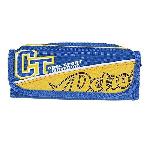 Durable Pochette de papeterie de stylo de Poche d'étudiant d'enfants en toile multicouche imprimé (bleu)