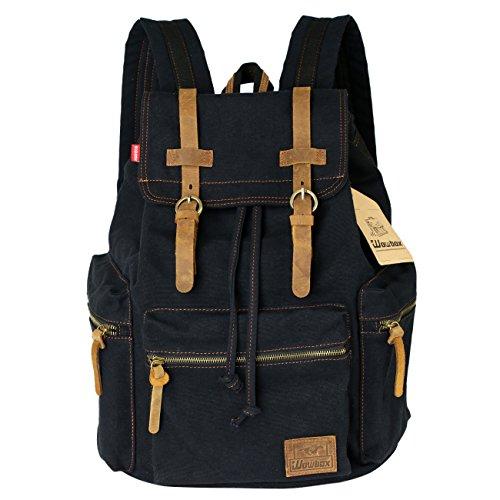 Wowbox Canvas Backpack Vintage Leather 15.6 Inch Laptop School Backpack Travel Rucksack Black