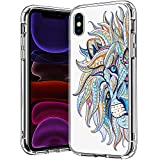 BICOL iPhone X Case,iPhone Xs,Colorful Lion Pattern Clear Design Transparent Plastic Hard Back Case with TPU Bumper Protective Case Cover for Apple iPhone X/iPhone Xs