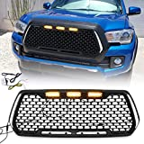 Modifying Replacement Grill Honeycomb Matte Black Fit for 2016 2017 2018 2019 Toyota Tacoma TRD PRO Front Grille with 3 Amber LED Lights, 2 Side DRL Turn Signal Lights Plug and Play - Coolest Style