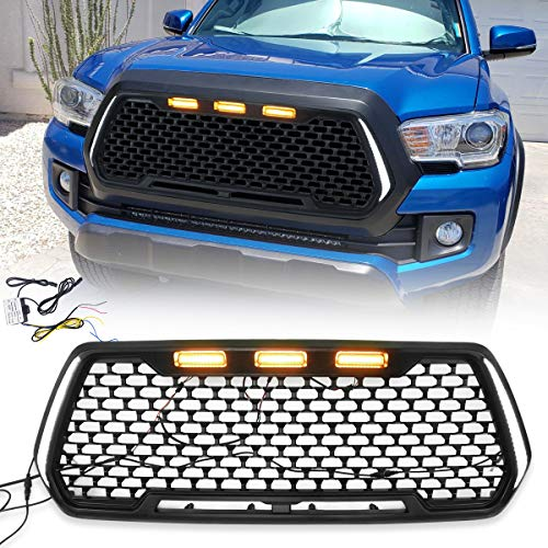 VZ4X4 Front Grill Mesh Grille Fit for 2016 2017 2018 2019 2020 Toyota Tacoma with Amber Lights & DRL - Matte Black (WILL NOT WORK WITH FRONT CAMERA/TSS)