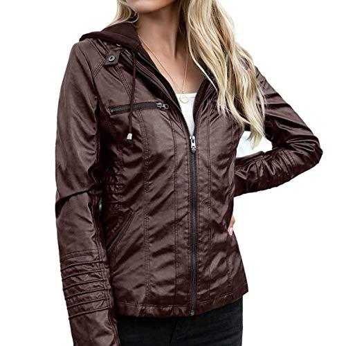 Katenyl Chaqueta de cuero sintético con cremallera con capucha desmontable para mujer Ropa de calle punk Moda Color sólido Abrigo de motocicleta de talla grande 6XL