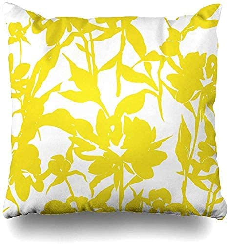 BONRI Throw Pillow Cover Abstract Yellow Floral Made Pattern Blooming Blossom Botanical Bud Classic Design Petals Decorative Pillow Case Home Decor Square Size 16x16 Inch Pillowcase