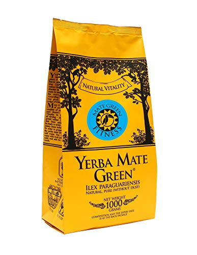 Yerba Mate Green 'Fitness' Brasilianischer Mate-Tee 1000g | Süßer, erfrischender Mate Tee | mit Sibirische Ginsengwurzel, Korianderfrucht, Grüner Tee Gunpowder und Grapefruitaroma