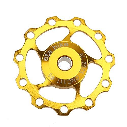 Demiawaking Bicicletta 11T Deragliatore Posteriore Rullo della Puleggia Parte della Ruota Dentata del Cuscinetto a Sfera (Oro)