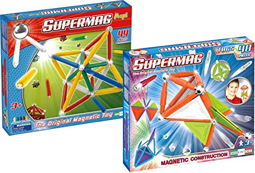 Supermag Toys 0252 Bundle-Maxi Primary 44 Tags 48 pz Magnetisches Konstruktionsspiel
