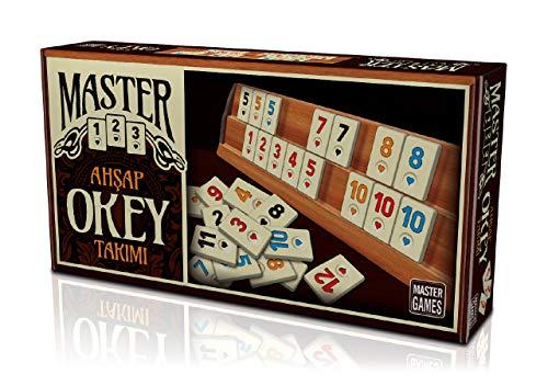 Master Games T95-Rummy, Rummikub, Romme aus Holz, Ahsap Okey Set