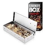 scatola per fumatori di barbecue,8.6x3.7 inch grill smoker woocd chips box,acciaio inossidabile barbecue a gas affumicatura di carne con coperchio a cerniera accessori per barbecue per barbecue
