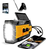 [2021 Upgraded] Emergency Weather Radio, Portable Flashlight Solar Radio AM/FM/NOAA by ZoyTech   Hand Crank Waterproof Rechargeable Radio with Powerbank, Phone Charger, 3 in 1 Cable   Survival Kit
