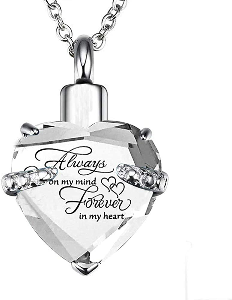 Beyuched Heart Cremation Urn Necklace For Ashes Pendant Jewelry Memorial Stainless Steel Crystal Chain Holder Keepsake Memorial with Fill Kit Pet Urns For Dogs Ashes