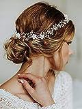 Zoestar Braut Hochzeit Kristall Haarschmuck Blume Stirnband Brautschmuck für Frauen und Mädchen