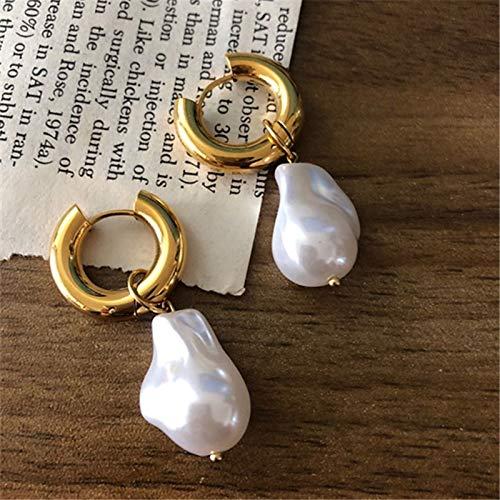 Hwjmy Pendientes redondos de perlas vintage, clips de oreja redondos dorados, joyería femenina punk dorado redondo (color metal: dorado)