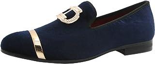 Chaussures Homme Velours Loafers Slip-on Confort Mocassins Flats Pantoufle Boucle en Métal Noir Violet Bleu