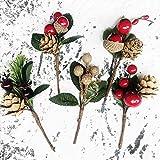 Dorime Selecciones de Navidad de la Red de Flores Artificial 5pcs Baya y Cono del Pino con Las Ramas del Acebo para Alquiler en la decoración Floral de Flores Crafts