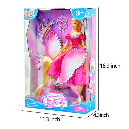 Bettina Princess Doll and Sparkle Unicorn, Unicorn Toys with Removable Saddle and Wings, Unicorn Dolls for Girls Boys Aged 3 4 5 6, Pink