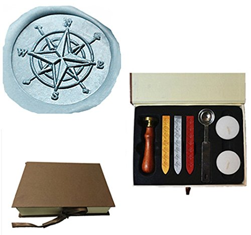 MDLG Custom Vintage Compass Star Orientation Personalized Picture Letter Logo Wedding Invitation Wax Seal Stamp Sticks Gift Box Set