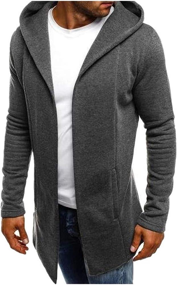 Casual Men Long Loose Sweatshirt Warm Winter Thicken Hooded Trench Coat Splicing Soft Fabric Cardigan Outwear