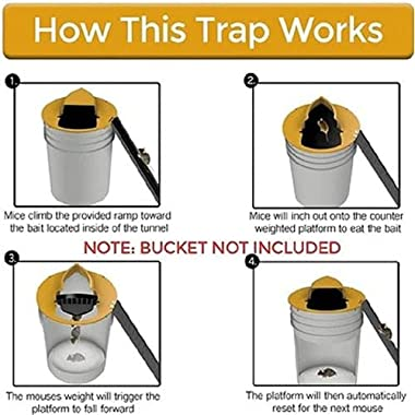 Mouse Trap Bucket Flip and Slide Bucket, Lid Mouse Trap Humane, Auto Reset and Multi Catch, Rat Trap 5 Gallon Bucket Compatib