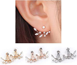 Girls Ear Jacket Stud Double-Sided Fashion Earrings for Women Sansitive Ears Simple Crystal Jewelry ODGear