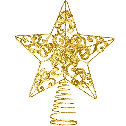 Blulu Glitzernde Weihnachtsbaum Topper 10 Zoll Metall Stern Wipfel Xmas Aushöhlen Stern Topper für Christbaumschmuck (Gold)