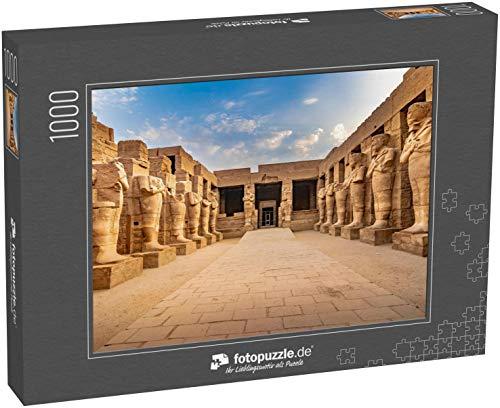 fotopuzzle.de Puzzle 1000 Teile Exploring Egypt - KARNAK Temple - Große Skulpturen von Pharaonen im Inneren des wunderschönen ägyptischen Wahrzeichens mit Hieroglyphen und Alten Symbolen