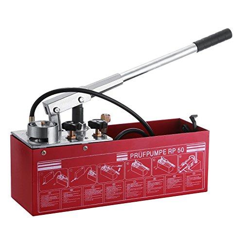 Happybuy Bomba de prueba manual de 50 bar 726 PSI, tanque de 3 galones con sistema de válvula doble, bomba de prueba hidráulica de flujo de 45 ml, conexión de acero inoxidable para presurizar fluidos