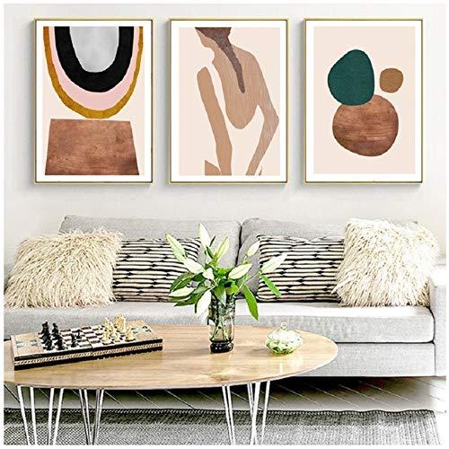 NIEMENGZHEN Druck auf Leinwand Abstrakte Skandinavien Poster Drucke Geometrische Leinwand Malerei Wandkunst Bilder für Wohnzimmer Wohnaccessoires 60 x 80 cm x 23 Kein Rahmen