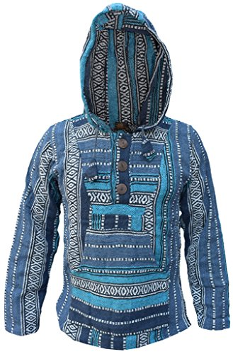 Gheri Baumwolle mehrfarbig gestreift Ethnic Baja Hoodies Gr. XL, Türkis Mix