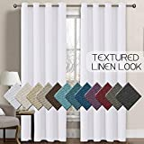 H.VERSAILTEX Linen Curtains Room Darkening Light Blocking Thermal Insulated Heavy Weight Textured Rich Linen Burlap Curtains for Bedroom/Living Room Curtain, 52 by 96 Inch - Pure White (1 Panel)